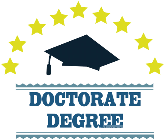 the words doctorate degree a graduation cap and stars